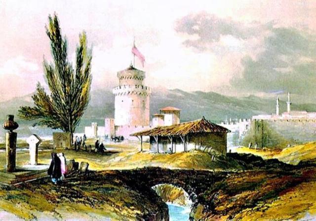 Η βρύση στα τουρκικά Νεκροταφεία έξω από τον Λευκό Πύργο. Λιθογραφία επιχρωματισμένη από το βιβλίο του Captain Walter Devereux 1847. Συλλογή Γ. Πατιερίδη και Κ. Σταμάτη. Σε αυτήν τη βρύση αναφέρεται ενδεχομένως ο Αλεσάντρο Μπιζανί.