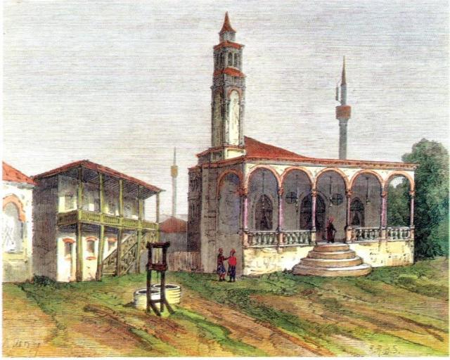 Πηγάδι στην αυλή του Σαατλή τζαμί. Επιχρωμ. Ξυλογραφία 1876.