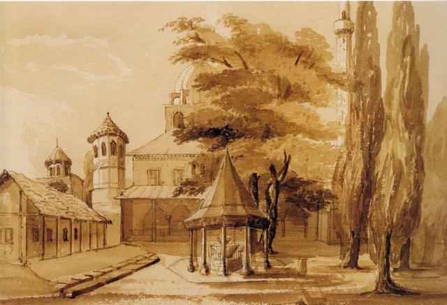 Φιάλη Αγίας Σοφίας. Σχέδιο με σέπια και μολύβι. Charlotte Smith. 1834. Συλλογή Καλφαγιάν.