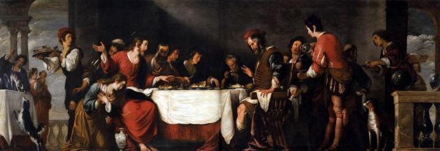 Μπερνάντο Στρότσι. «Γεύμα στο σπίτι του Σίμωνα». Στο αριστερό μέρος του τραπεζιού κάθεται ο Ιησούς, ενώ η μετανοήσασα αμαρτωλή είναι σκυμμένη και έτοιμη να αλείψει τα πόδια του με το μύρο.