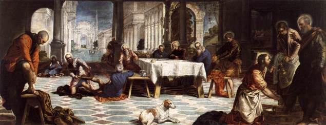Τιντορέττο 1548. Μετά το δείπνο ο Ιησούς πλένει τα πόδια των μαθητών του.
