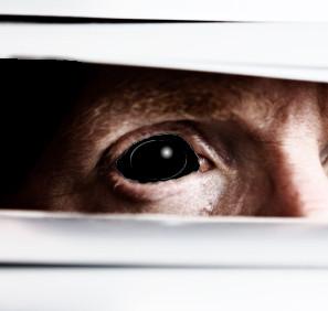 Black eye peeking in between the blinds