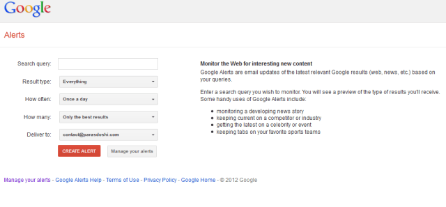 Google Alerts For BLOGGERS SEO