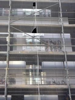 Garde-corps vitré, façade arrière de Parc 17, bâtiment B