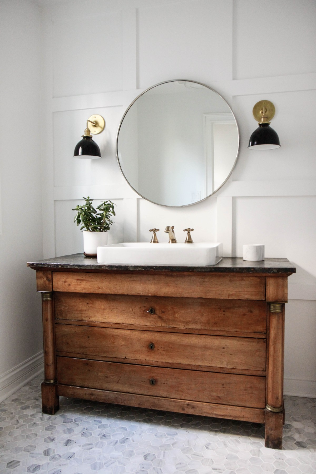 bathroom with an antique vanity