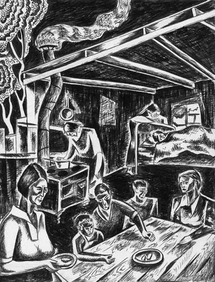 Depression Family Interior Leon Bibel brush & ink drawing 1936