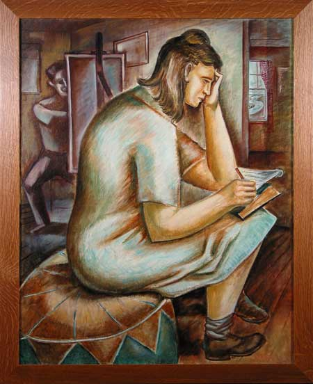 Woman Writing / Artist at Easel Leon Bibel oil on canvas; c.1937