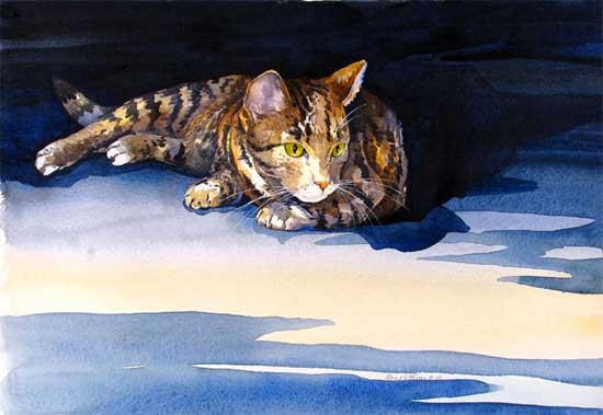 Watchful Cat Hazel Jarvis watercolor