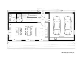 План деревянного современного дома с гаражом