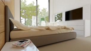 Спальня в деревянном доме. Дизайн