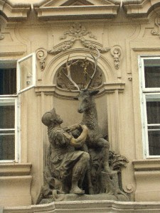 Soldier and stag over restaurant in Prague