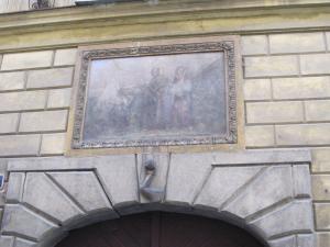 Holy family and nut fresco in Prague