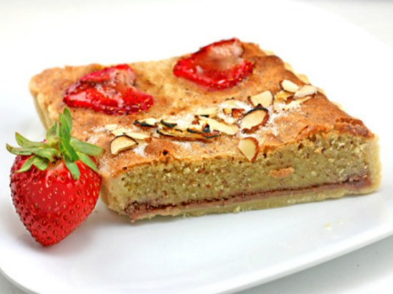 Strawberry Vanilla Bean Almond Pudding Cake