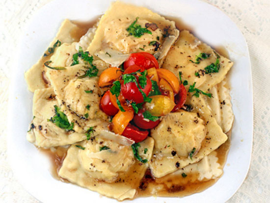 Sweet Corn - Grana Padano Ravioli With Basil Brown Butter and Warm Cherry Tomato Compote