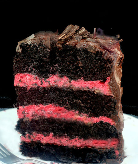 One Bowl Dark Chocolate Cake with Fresh Raspberry Buttercream