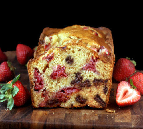Chocolate Chunk Strawberry Malted Yogurt Loaf