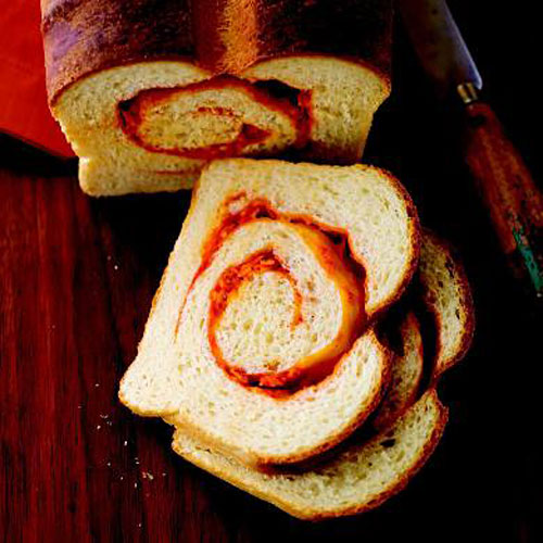 Crusty Sriracha Cheddar – Pepper Jack Swirl Bread