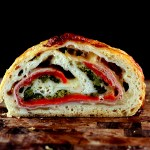 SRC-Three Cheese Broccoli Rabe, Prosciutto and Roasted Red Pepper Stromboli