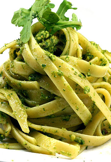 Fettuccine with Cheesy Garlic Broccoli Kale Arugula Pesto