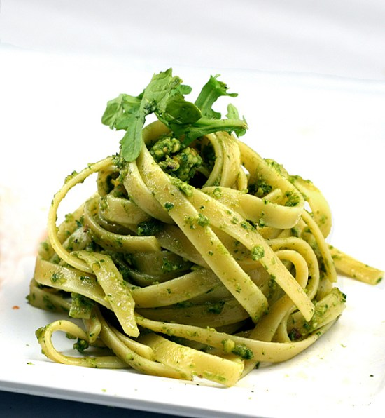  Fettuccine with Arugula-Basil-Kale Pesto