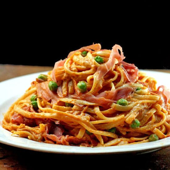 Creamy Tomato Parmesan Linguine with or without Peas and Prosciutto