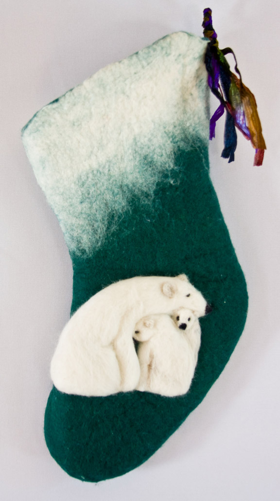 Holiday stocking with a family of polar bears