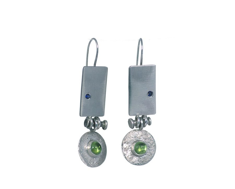 Silver earrings set with sapphire and peridot.
