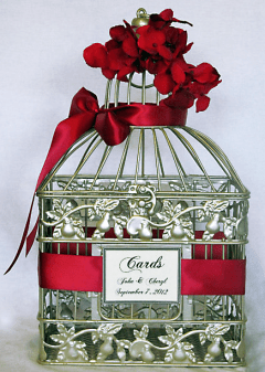 Wedding Birdcage Card Holder with Poppy Red Ribbon