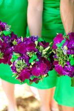 Kelly Green Bridesmaid Dresses with purple and green bouquet