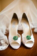 Emerald Green Embellishment on White Satin Shoes