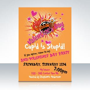 Anti-Valentine's Day Exploding Bomb Comic Style Invitations