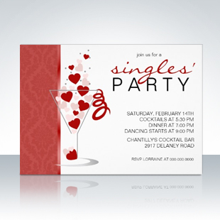 Heart Cocktail Glass Singles' Party Invitations