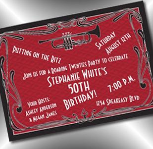 jazz roaring 20's invitation - party simplicity