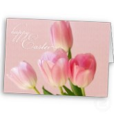 Happy Easter pink tulips card