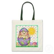 Hoppy Easter cute bunny in an Easter egg tote bag