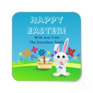 Mischievous Easter bunny Happy Easter square stickers