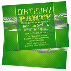 green circuit board geek theme personalized birthday party invitation