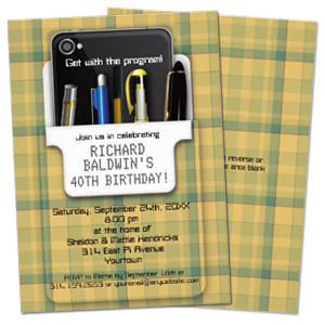 plaid pocket protector geek theme personalized birthday party invitation