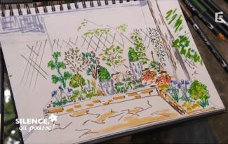stepane marie dessin jardin ombre fleuri