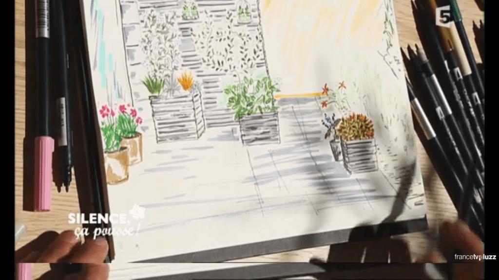 dessin Habiller un mur de terrasse et cacher des vélos