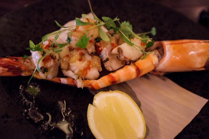 Passagem Gastronômica - Madagascan Prawns - Restaurante Sexy Fish - Londres