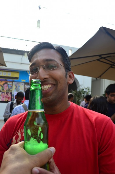 Cyril sebastian is obviously enjoying the party in Blue Frog!
