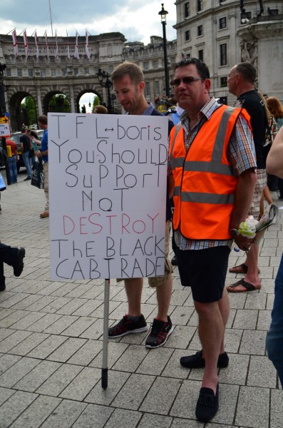 London Cab strike. 11 June 2014. Some slogans and placards...