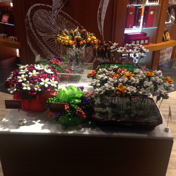 These are chocolates disguised as flowers... seems to be a speciality at Hamad