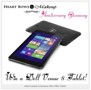Dell giveaway at www.heartbowsmakeup.com