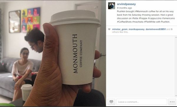 Being #together is... Monmouth coffee that Pushkin gets on his way back from rowing