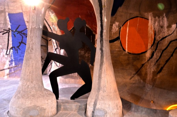 The Husain-Doshi gufa is designed as a set of inter-connected caves with the walls and the roof painted by Husain. Even the metal figures are Husain's works.