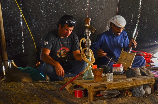 Aha! Inside a Bedouin camp... and he played the rebab and sang a song after serving us tea
