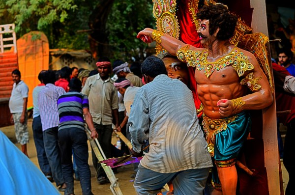Durga Puja 2015. This demon is excited to be loaded on the truck... does he even know what is going to happen to him?