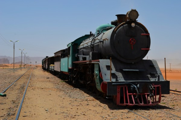 Jordan - This train doesn't chook-chook anymore and stands here near Wadi Rum as a relic of the past. Jordan doesn't encourage railways